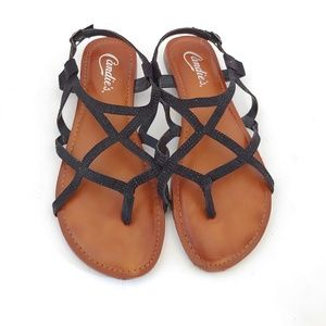Candie's Black Rhinestone Strappy Sandals
